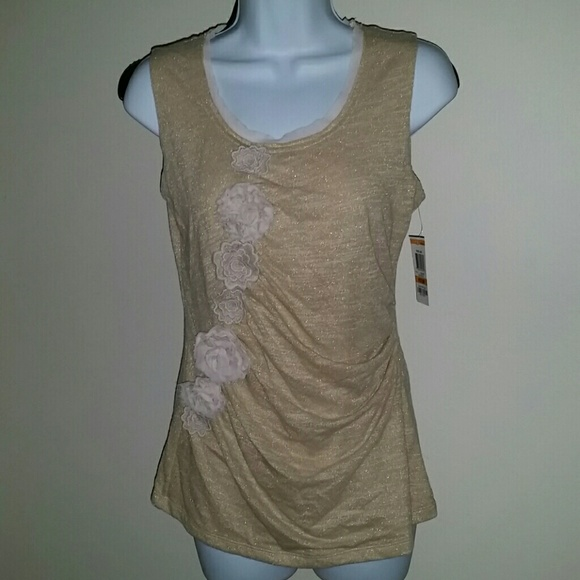 9c977a8545f17 NWT Alfani Gold Metallic Sleeveless Rosette Top PM